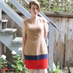 Shoshanna color block sheath tan dress 6